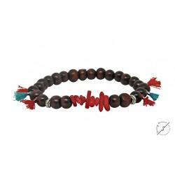 Βραχιόλι χειροποίητο Boho coral red tassels  BH0026