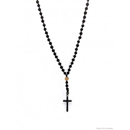 Ανδρικό Κολιέ Lava black/Jasper picture/inox cross