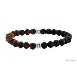 Ανδρικό βραχιόλι Μάτι της Τίγρης & Όνυχας μαύρος VRA00225  / Lava /Howlite