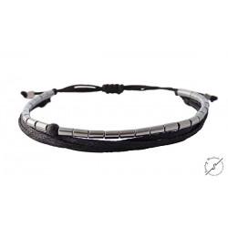 Ανδρικό βραχιόλι Hematite tube silver  VRA00339