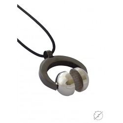 Ανδρικό μενταγιόν Ατσάλινο Ακουστικά μαύρο-ασημί KLA0050