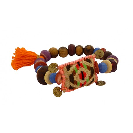 Βραχιόλι  wooden beads turquoise  VR00411