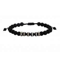 Bracelet  lava black - agate tibet  VRA00521