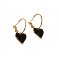 Σκουλαρίκι black heart  M  SK00236