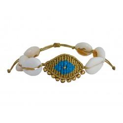 Handmade bracelet evil eye macrame gold-blackVR00661