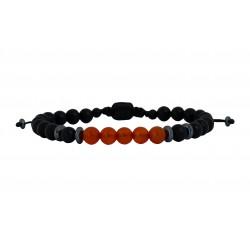 Ανδρικό βραχιόλι Onyx black - carnelian VRA00594
