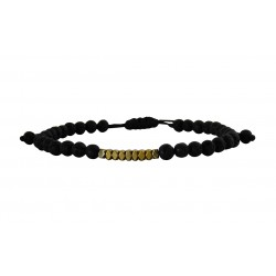 Ανδρικό βραχιόλι Gold hematite lava VRA00605