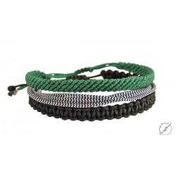 Ανδρικά βραχιόλια σετ 3 τμχ black-green VRA00379
