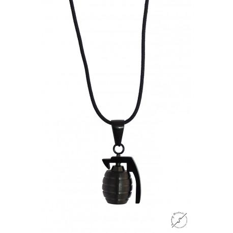 Ανδρικό μενταγιόν Ατσάλινο χειροβομβίδα μαύρη KLA0048